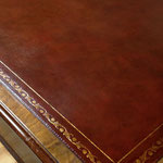 Restored antique leather desk top