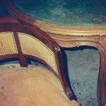 Damaged/Faded antique leather chair and table