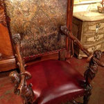18th century French chair with new leather -refinished and inside back embossed  leather restored.