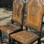 Before Restoration: Antique Italian leather chairs