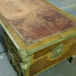 18th century French desk with antique leather, before restoration
