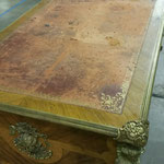 18th century French desk with antique leather, before restoration (Alt. View)