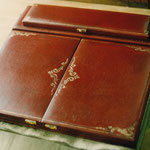 Restored antique leather letter folder