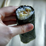 A roll, filled with tuna and mayonnaise, wrapped in seaweed. Price roughly 1 Dollar. Yummy! Japan 2013 © Sabrina Iovino