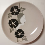三色象嵌丸皿:朝顔 ø170mm