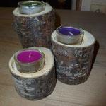 Teelichter in Holzstufe