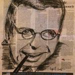 Jean-Paul Sartre - Fusain - Commande Dernière Leçon