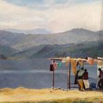 Sérénité, Lac de Pokhara au Népal - 2013 - Huile sur toile, 55x28  cm