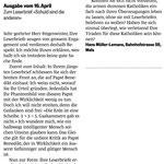 Reaktion von Hans Müller-Lemans auf Leserbrief von M. Feigenwinter