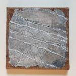 Southeast or Northwest, 20x20cm, Sackcloth on canvas, intonaco, pigments, pastelstick