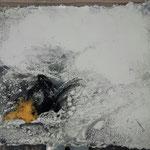 Der kleine Rabe, 16x20cm  auf Seidelbastpapier, schwebend gerahmt