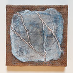 -60- Forks in my road, 20x20cm, sackcloth on canvas, intonaco, pigments, pastelstick
