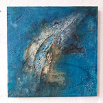 Out of the blue, 70x70x3,5c- wooden board - 2020
