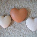 kleine Herzen fürs Herz, Handschmeichler, gebr. Ton, ca. 5-7 cm