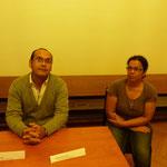 A gauche : Jean-Charles PITOU, exilé - A droite : Chantal OUDIN, Secrétaire de l'association Rasinn Anler et exilée