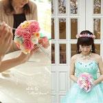 お母さまと一緒に手作りレッスンした花冠とブーケを持つ花嫁さま