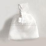 sacchetto in lino panna con bordo in organza, tirante in coda di topo € 1,60