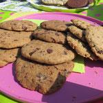 Schauen wir uns das Gebäck doch mal genauer an. Wir zeigen uns von unserer Schokoladenseite: Vollkorn-Schoko-Cookies und, unschokoladig, aber ebenso köstlich, Oatmeal Raisin Cookies (Hafer-Rosine)