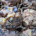 Auch für Glutenallergiker haben wir natürlich was im Sortiment: Rosinen-Zimt-Apfel-Muffins, die übrigens ganz ohne Zucker auskommen und dennoch angenehm süß (und fruchtig-frisch) schmecken.