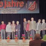 Ehrung für 25 Jahre Mitgliedschaft: Sieglinde Bergmann, Gertrud Bischof Gertrud Chaloupka, Karl Chaloupka Gretel Hauck, Wolfgang Ritter, Renate Schiller, Melida Mayer Melitta Will, Heinz Schmidt
