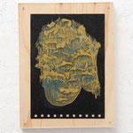 glove/ 2016 /W15×D4×H20㎝/水彩、土、木、アクリル板(water color,mud,wooden board,acrylic)  photo by Takeru Koroda