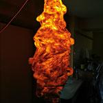"""Lampion """"Fusion"""" H : 68 cm et  Ø : 7 cm en laine mérinos et soie avec un système électrique et une ampoule LED. Pièce unique"""