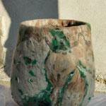 """Luminaire """"Récif"""" H : 30 cm et  Ø : 32 cm en laine mérinos et soie sur socle en bois et structure en bambou avec un système électrique et une ampoule LED. Pièce unique"""