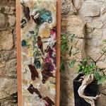 """Tableau """"Continent"""" H : 107 cm et l: 39 cm en laine mérinos, soie, tôle rouillée sur châssis peintre et contour en hêtre. Pièce unique"""