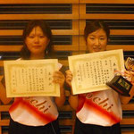 女子ダブルス優勝 藤田・宮越組(高知大学)