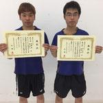 男子ダブルス3位 西岡・西組(香川大学)