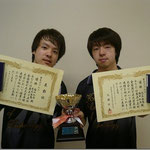 男子ダブルス優勝 福田・児玉組(高知工科大学)