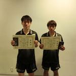 男子ダブルス3位:岡本・山本(高知工科大学)