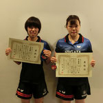 女子ダブルス準優勝:水野・石川(新潟大学)