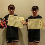 女子ダブルス優勝:福島礼・福島彩(高知工科大学)