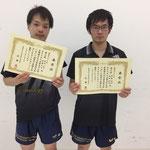 男子ダブルス3位 福田・田島組(高知工科大学)