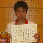 男子シングルス優勝 荒木亮選手(広島大学)