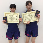 女子ダブルス準優勝 高原彩・藤田組(高知工科大学)
