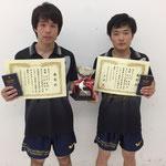 男子ダブルス優勝 竹中・大坂組(高知工科大学)