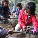 伐採した竹を再利用して竹クラフト