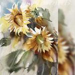 Sunflowers III 2018 / 20x30cm (O3) / Watercolour by ©janinaB.