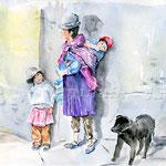 Zwei-Kinder-und-ein-Hund-(8) / Watercolour 30x40cm / insp. Leonid Plotkin