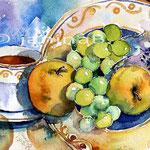 Stillleben mit Obstteller und Cappucino / Aquarell 22x15cm