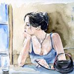 das leere Glas (16) / Watercolour 24x32cm   / insp. Fabian Perez