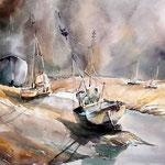 Kutterhafen bei Ebbe / Aquarell 31x41cm / nicht verfügbar