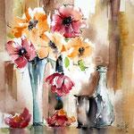 Stillleben mit Blumen / Aquarell 23x31cm