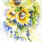 Sonnenblumen (6) / Watercolour 30x40cm
