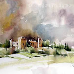 Trequanda Tuscany / Aquarell auf Arches 30x40cm
