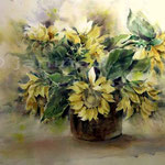 Sonnenblumen-I / Aquarell 76x56cm auf Arches