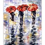 drei rote Schirme (O3) / Watercolour 18x25cm / insp. Afremov