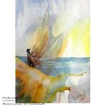 Fisherman I 2018 (O5) / 17x24cm Watercolour by ©janinaB.
